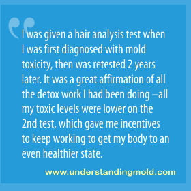 I was given a hair analysis test when I was first diagnosed with mold toxicity, then was retested 2 years later. It was a great affirmation of all the detox work I had been doing –all my toxic levels were lower on the 2nd test, which gave me incentives to keep working to get my body to an even healthier state.